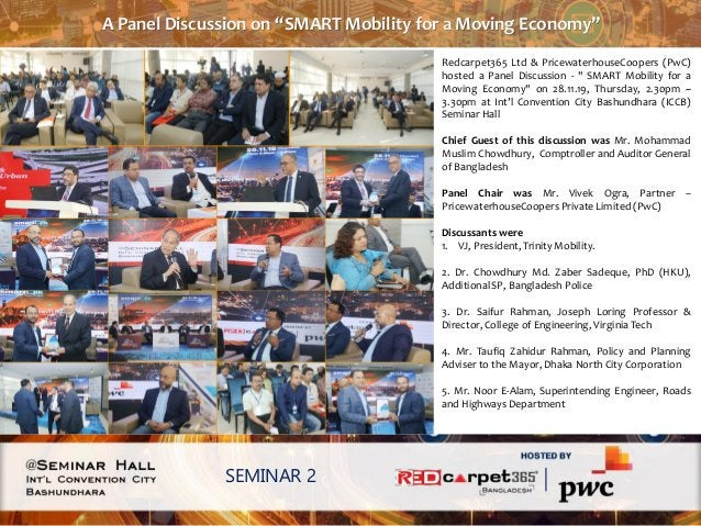 """A Panel Discussion on """"SMART Mobility for a Moving Economy"""" SEMINAR 2 Redcarpet365 Ltd & PricewaterhouseCoopers (PwC) host..."""
