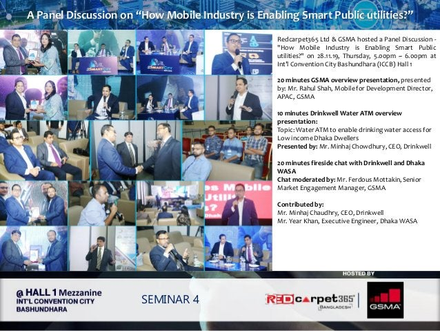 """A Panel Discussion on """"How Mobile Industry is Enabling Smart Public utilities?"""" SEMINAR 4 Redcarpet365 Ltd & GSMA hosted a..."""