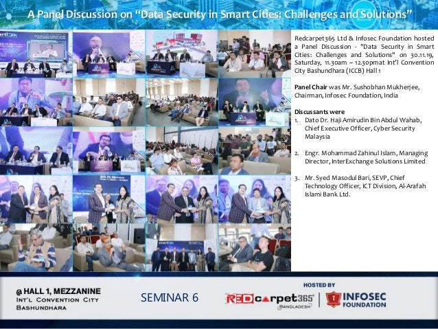 """A Panel Discussion on """"Data Security in Smart Cities: Challenges and Solutions"""" SEMINAR 6 Redcarpet365 Ltd & Infosec Found..."""