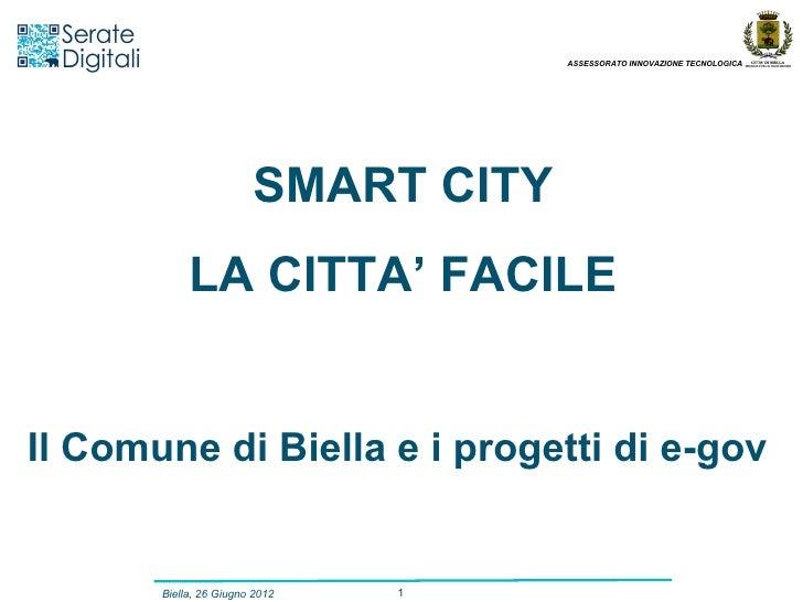 ASSESSORATO INNOVAZIONE TECNOLOGICA                        SMART CITY            LA CITTA' FACILEIl Comune di Biella e i p...
