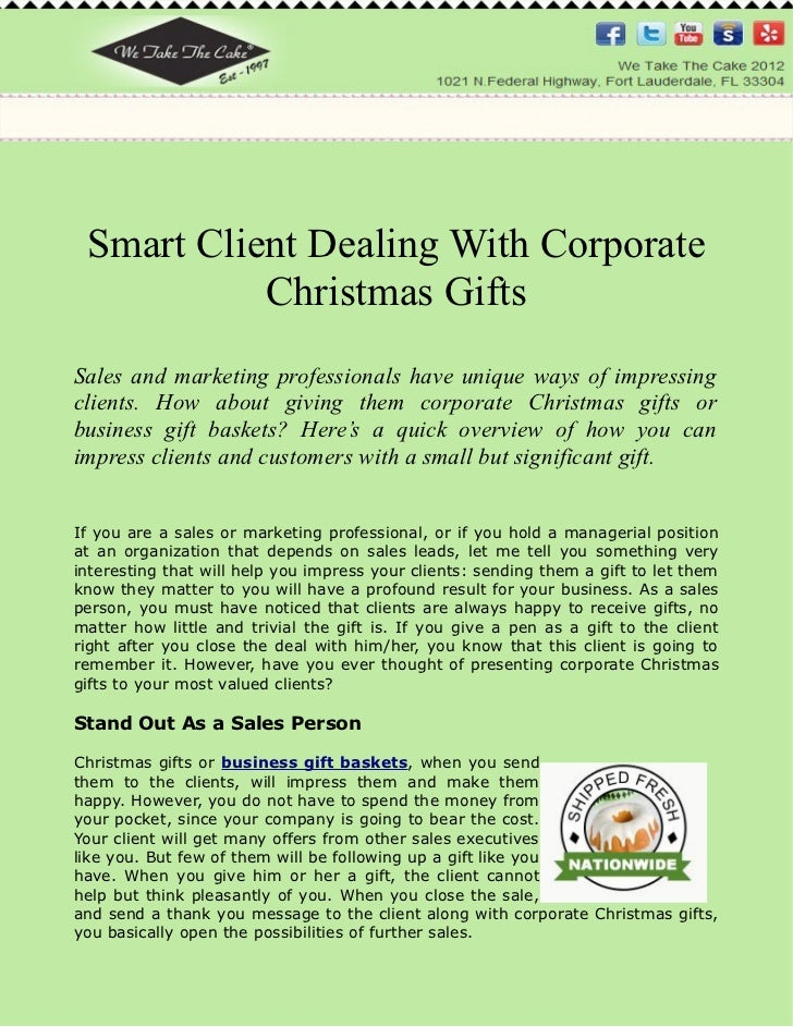 Smart Client Dealing With Corporate Christmas Gifts