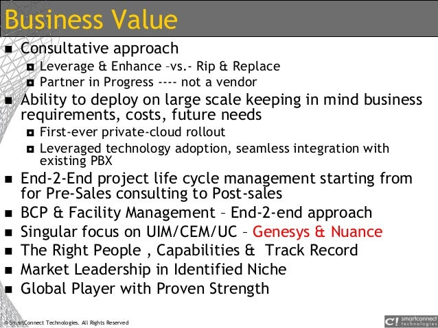© SmartConnect Technologies. All Rights Reserved Business Value  Consultative approach  Leverage & Enhance –vs.- Rip & R...