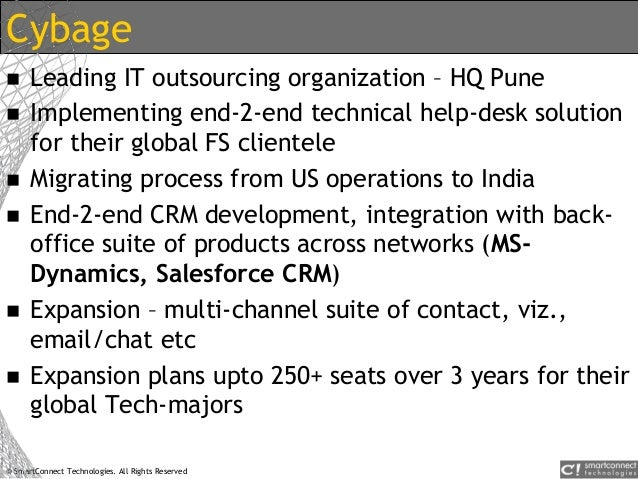 © SmartConnect Technologies. All Rights Reserved Cybage  Leading IT outsourcing organization – HQ Pune  Implementing end...