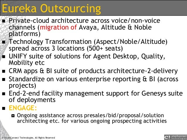 © SmartConnect Technologies. All Rights Reserved Eureka Outsourcing  Private-cloud architecture across voice/non-voice ch...
