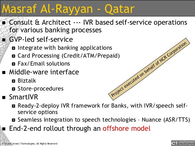 © SmartConnect Technologies. All Rights Reserved Masraf Al-Rayyan - Qatar  Consult & Architect --- IVR based self-service...