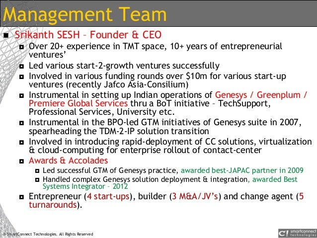 © SmartConnect Technologies. All Rights Reserved Management Team  Srikanth SESH – Founder & CEO  Over 20+ experience in ...