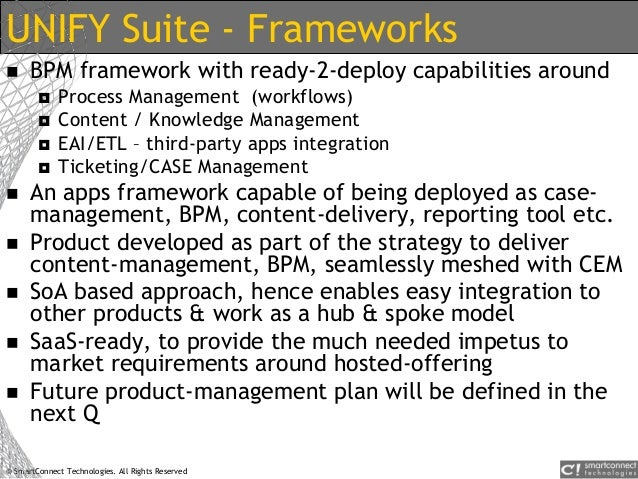 © SmartConnect Technologies. All Rights Reserved UNIFY Suite - Frameworks  BPM framework with ready-2-deploy capabilities...
