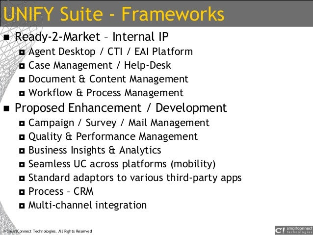 © SmartConnect Technologies. All Rights Reserved UNIFY Suite - Frameworks  Ready-2-Market – Internal IP  Agent Desktop /...