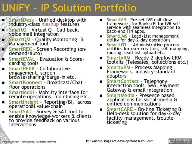 © SmartConnect Technologies. All Rights Reserved UNIFY - IP Solution Portfolio  SmartDesk – Unified-desktop with industry...