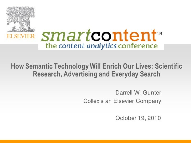 Smart Content Conference How Semantic Tech Helps Scientific Research
