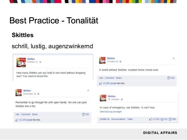 Best Practice - Tonalität Skittles schrill, lustig, augenzwinkernd