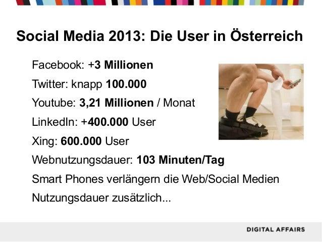 Social Media 2013: Die User in Österreich Facebook: +3 Millionen Twitter: knapp 100.000 Youtube: 3,21 Millionen / Monat Li...