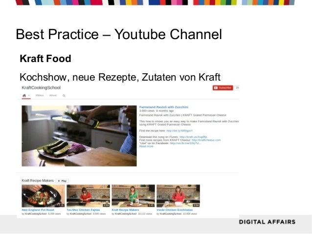 Best Practice – Youtube Channel Kraft Food Kochshow, neue Rezepte, Zutaten von Kraft