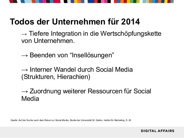"""Todos der Unternehmen für 2014 → Tiefere Integration in die Wertschöpfungskette  von Unternehmen. → Beenden von """"Insellösu..."""