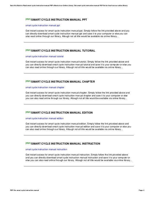 smart cycle instruction manual rh slideshare net smart cycle user manual Smart Cycle Power Cord