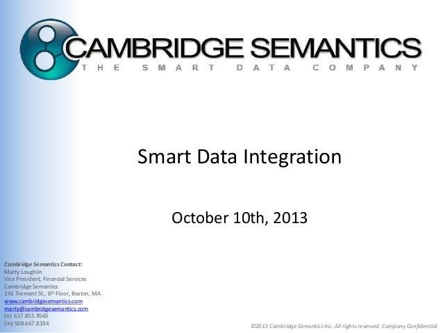 Smart Data Integration October 10th, 2013 Cambridge Semantics Contact: Marty Loughlin Vice President, Financial Services C...