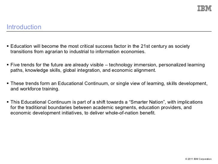 Smarter Eduction - Higher Education Summit 2011 - D Watt Slide 3