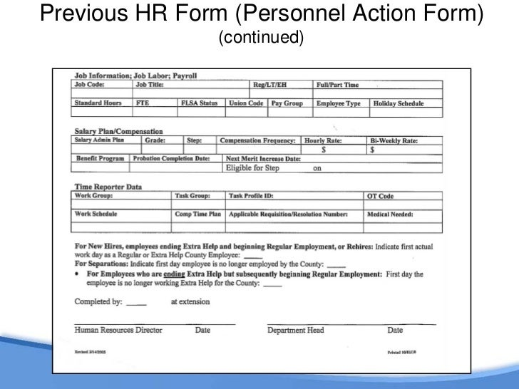 previous hr form personnel action form 7 - Hr Form