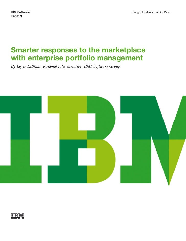 IBM White Paper | Smarter responses to the marketplacewith enterprise…