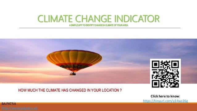 CLIMATE CHANGE INDICATOR ASIMPLEAPPTOIDENTIFYCHANGE INCLIMATE OFYOURAREA HOW MUCH THE CLIMATE HAS CHANGED IN YOUR LOCATION...