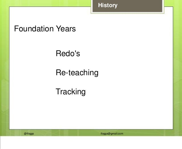 @ifoggs ifoggs@gmail.com History Foundation Years Redo's Re-teaching Tracking