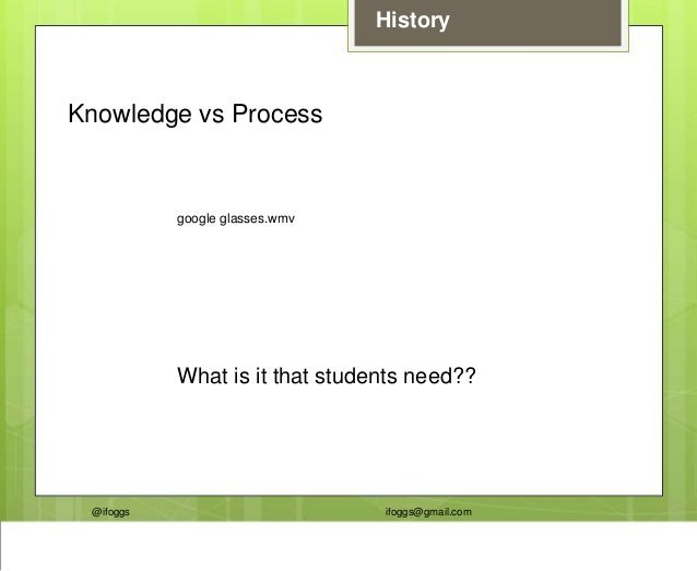 @ifoggs ifoggs@gmail.com History google glasses.wmv Knowledge vs Process What is it that students need??