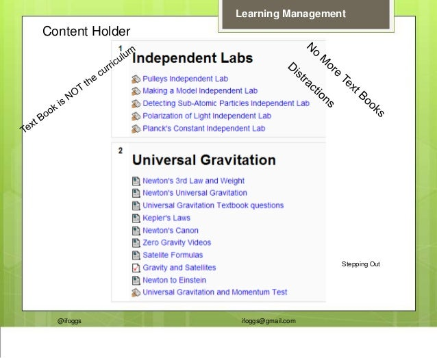 @ifoggs ifoggs@gmail.com Learning Management Content Holder Stepping Out