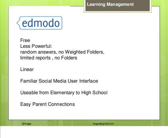 @ifoggs ifoggs@gmail.com Learning Management Free Less Powerful: random answers, no Weighted Folders, limited reports , no...