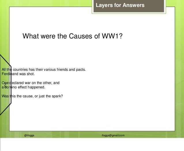 @ifoggs ifoggs@gmail.com What were the Causes of WW1? Layers for Answers All the countries has their various friends and p...