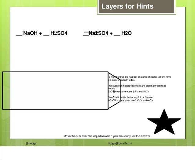 @ifoggs ifoggs@gmail.com __ NaOH + __ H2SO4 __Na2SO4 + __ H2O2 211 Layers for Hints Pull Remember that the number of atoms...
