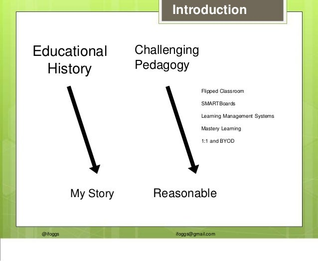 @ifoggs ifoggs@gmail.com Introduction Educational History My Story Challenging Pedagogy Reasonable Flipped Classroom SMART...