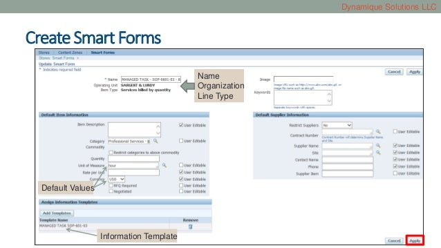 Smart forms and information templates in Oracle iProcurement
