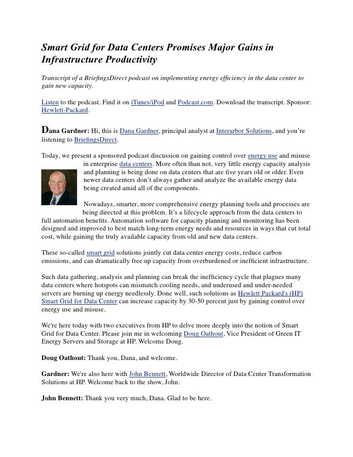 Smart Grid for Data Centers Promises Major Gains in Infrastructure Productivity Transcript of a BriefingsDirect podcast on ...