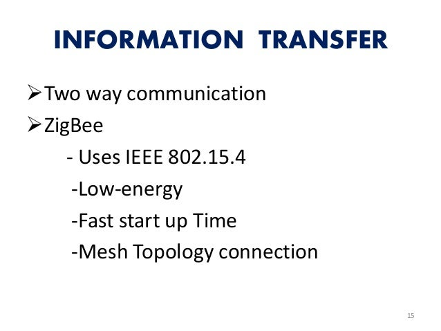 INFORMATION TRANSFER Two way communication ZigBee - Uses IEEE 802.15.4 -Low-energy -Fast start up Time -Mesh Topology co...