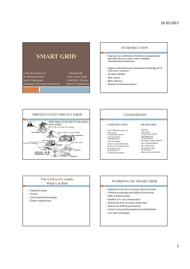 19-02-2017 1 SMART GRID Under the Guidance of Submitted By Dr. Mahendra Kumar Vinay Kumar Singh Head of Department 1404320...
