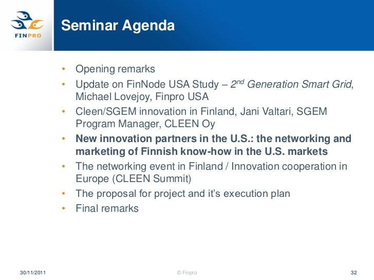 Smart grid 30 november 2011 seminar Michael Lovejoy Finpro