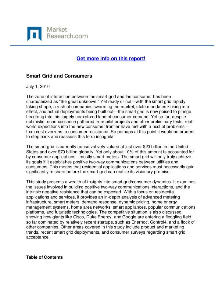 Get more info on this report!Smart Grid and ConsumersJuly 1, 2010The zone of interaction between the smart grid and the co...