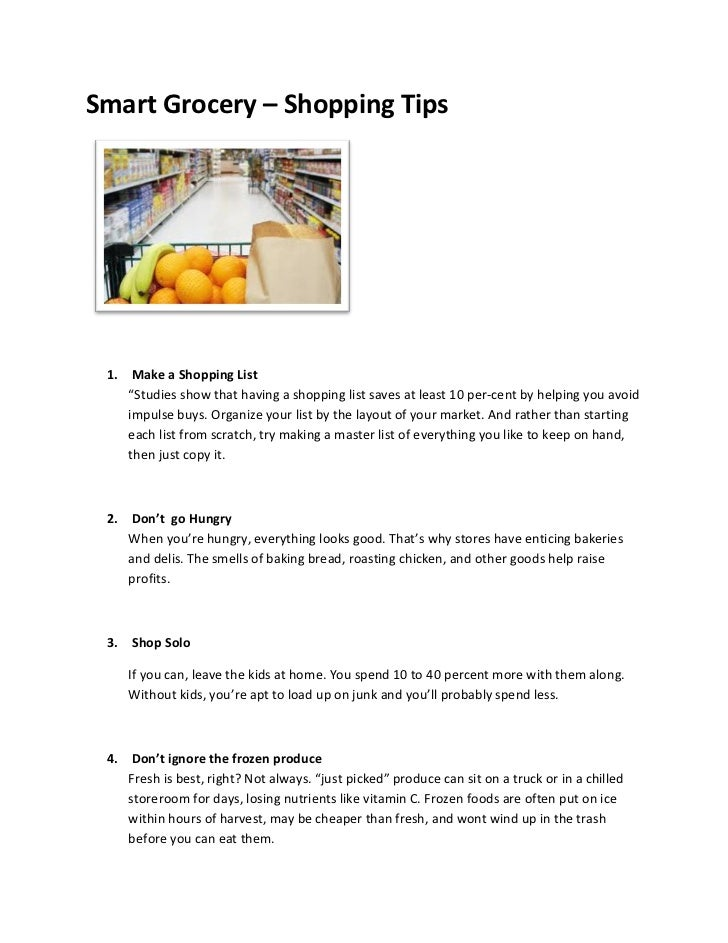 """Smart Grocery – Shopping Tips 1. Make a Shopping List    """"Studies show that having a shopping list saves at least 10 per-c..."""