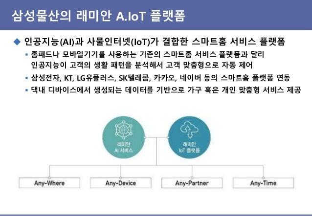 삼성물산의 래미안 A.IoT 플랫폼 ◆ 인공지능(AI)과 사물인터넷(IoT)가 결합한 스마트홈 서비스 플랫폼