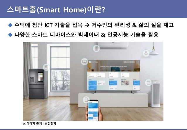 스마트홈 서비스(Smart Home Service)란? ◆ 스마트폰 등을 이용해 집안의 스마트 기기들을 제어/모니터링하는 것 ◆ 특정한 조건에 따라 스마트 기기들이 연동되어 스스로 동작하는 것 → 거주자의 관여를 최소화