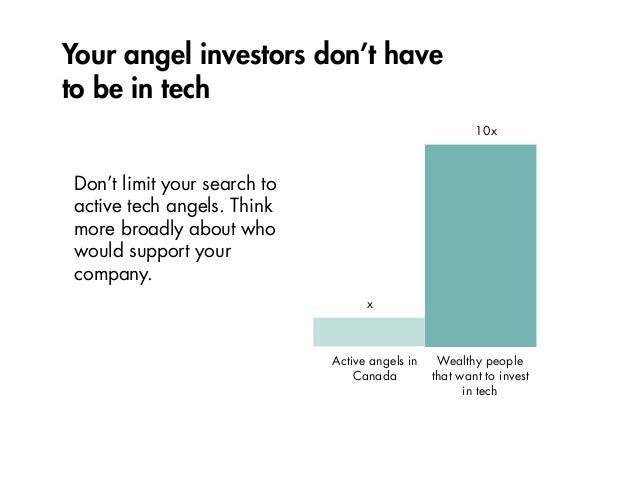 Your angel investors don't have to be in tech Don't limit your search to active tech angels. Think more broadly about who ...