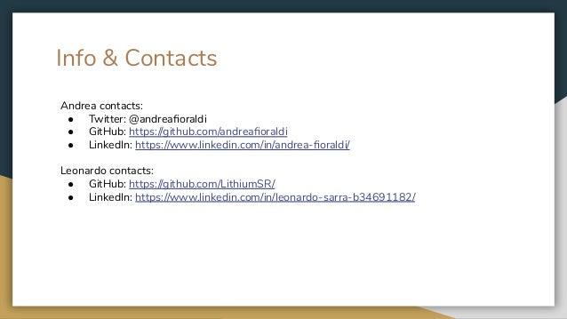 Info & Contacts Andrea contacts: ● Twitter: @andreafioraldi ● GitHub: https://github.com/andreafioraldi ● LinkedIn: https://...