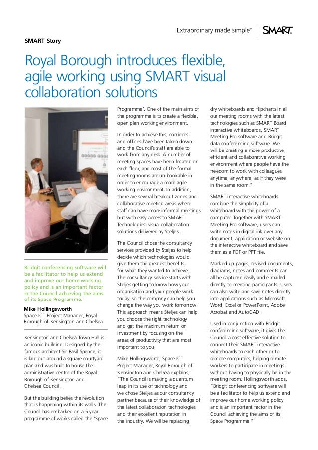 SMART Story  Royal Borough introduces flexible, agile working using SMART visual collaboration solutions Programme'. One o...