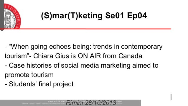 "(S)mar(T)keting Se01 Ep04  - ""When going echoes being: trends in contemporary tourism""- Chiara Gius is ON AIR from Canada ..."