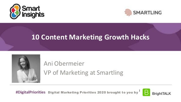 #DigitalPriorities Digital Marketing Priorities 2018 brought to you by 10 Content Marketing Growth Hacks Ani Obermeier VP ...