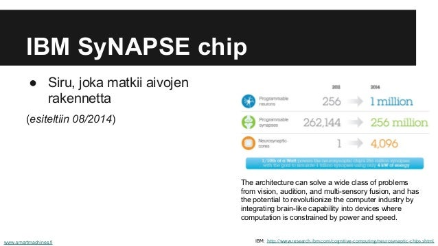 IBM SyNAPSE chip ● Siru, joka matkii aivojen rakennetta (esiteltiin 08/2014) IBM: http://www.research.ibm.com/cognitive-co...