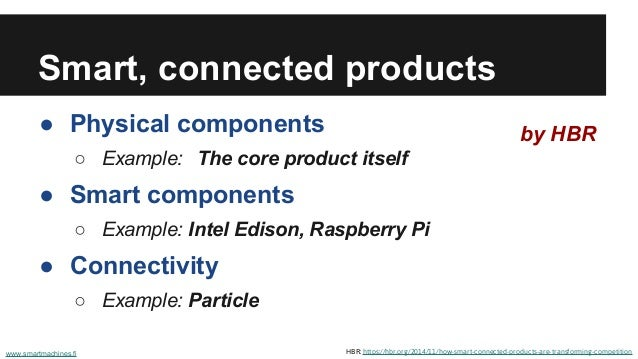Smart, connected products ● Physical components ○ Example: The core product itself ● Smart components ○ Example: Intel Edi...