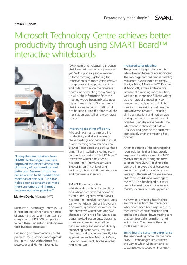 SMART Story  Microsoft Technology Centre achieves better productivity through using SMART Board™ interactive whiteboards (...