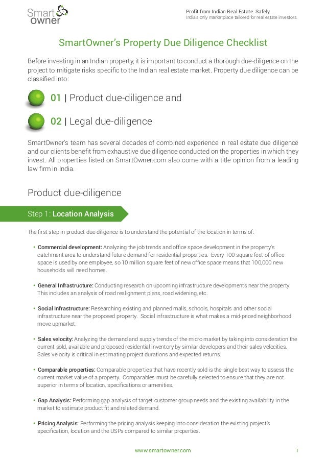 Smartowner 39 s 72 point real estate due diligence checklist for Technology due diligence template