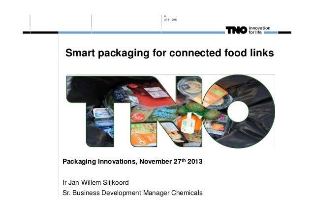 0 27-11-2013  Smart packaging for connected food links  Packaging Innovations, November 27th 2013 Ir Jan Willem Slijkoord ...